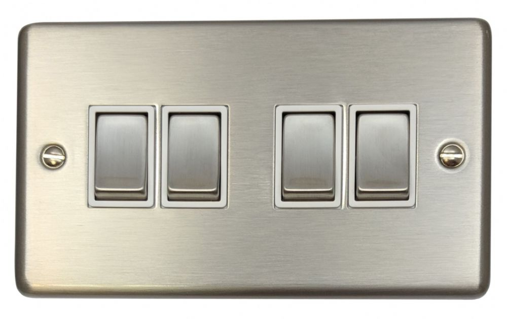 G&H CSS204 Standard Plate Brushed Steel 4 Gang 1 or 2 Way Rocker Light Switch